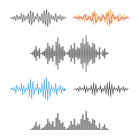 Waveform Shape. Soundwave. Audio Wave Graph Set. Vector. Иллюстрация
