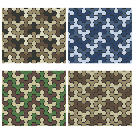 cadet blue: Seamless Camouflage Geometric Pattern Set. Three And Six Color Variants. Tiled Ornament With Hexagons. Vector.