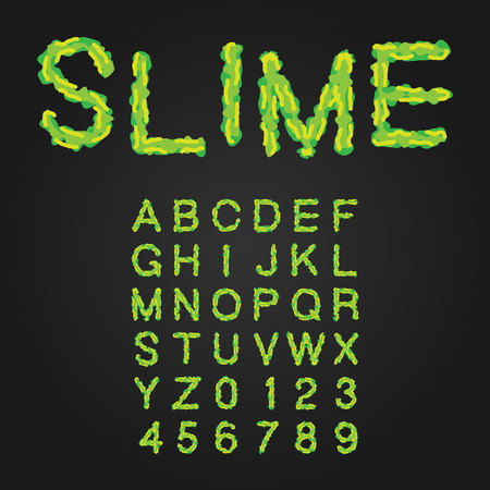 slime: Halloween Style Typeface. Green Slime. Uppercase Letters And Numbers. Latin Alphabet. Vector.