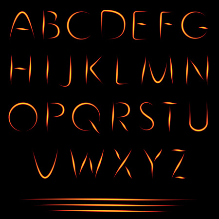 fire font: Fire Letters. Burning Font. Glowing Alphabet. Vector. No Mesh Used. Illustration