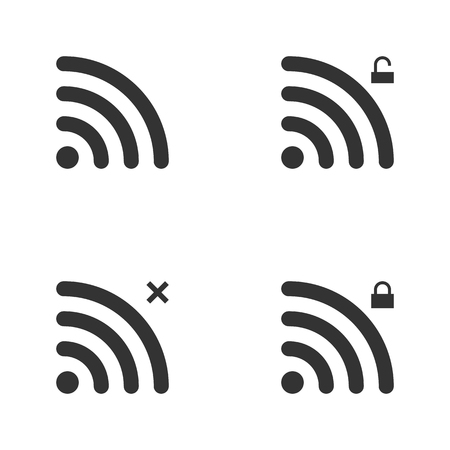 wifi access: Set Of Wi-Fi And Wireless Icons. WiFi Zone Sign. Remote Access And Radio Waves Communication Symbols. Vector.