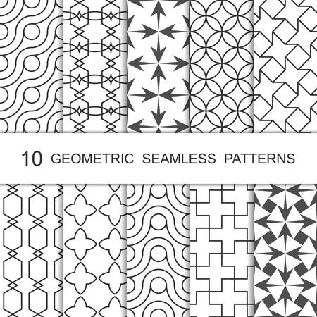 tiled: Seamless Geometric Pattern Set. Ten Tiled Ornaments. Vector.