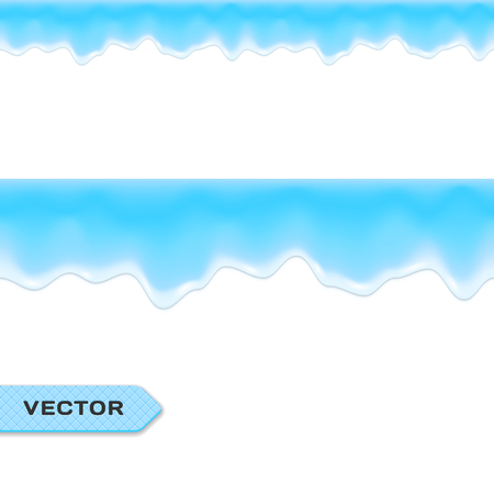 drips: Water Drips or Melting Ice. Seamless Border. Vector.