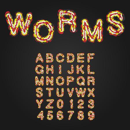 pus: Halloween Style Carattere tipografico. Lettere maiuscole e numeri. Alfabeto latino. Worms, Rot, Sangue, Slime. Vettore.