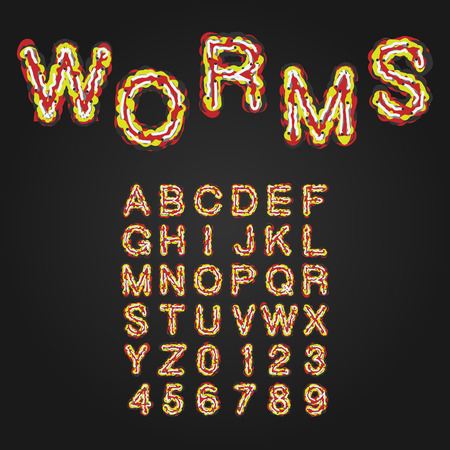 pus: Halloween Style Typeface. Uppercase Letters And Numbers. Latin Alphabet. Worms, Rot, Blood, Slime. Vector.