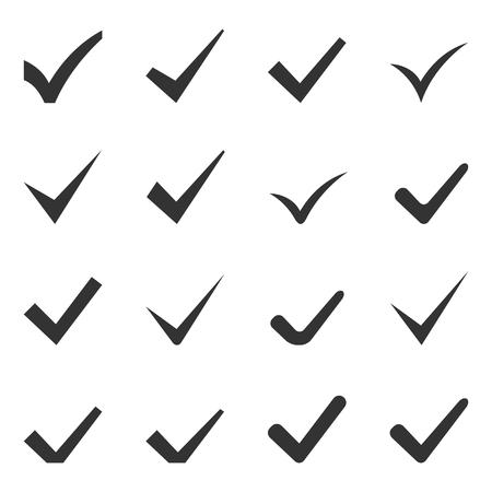 garrapata: Compruebe Marcas o garrapatas. Conjunto de dieciséis iconos. Vector.