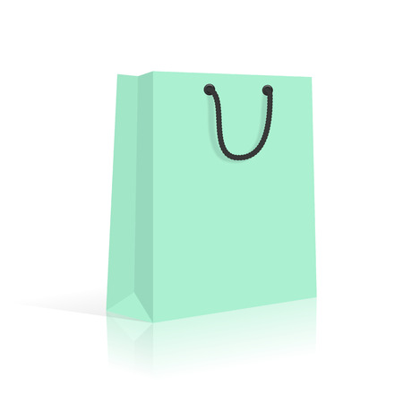 handles: Blank Paper Shopping Bag With Rope Handles. Mint. Vector.