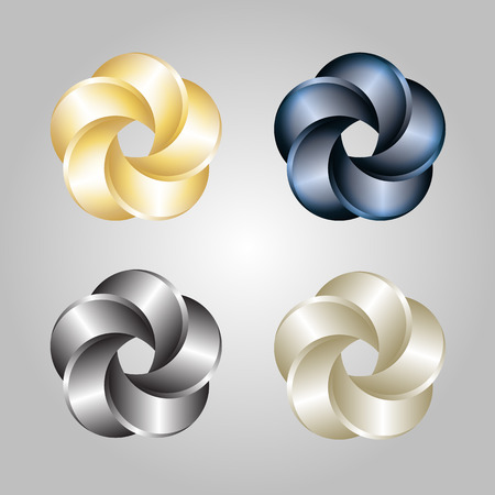 chrome metal: Logo Or Emblem Template. Abstract Swirl. Vector Icon. Illustration