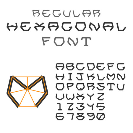regular: Hexagonal ABC. Geometric Font. Letters and Digits. Regular. Illustration