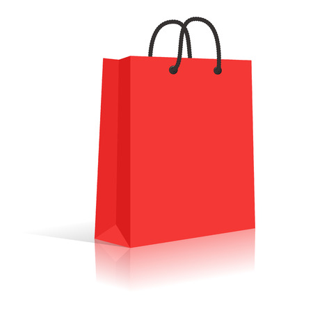 shopping bag icon: Blank Red Paper Shopping Bag With Black Rope Handles. Vector.