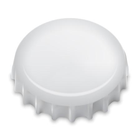 single beer bottle: Realistic Bottle Cap On White. Vector.