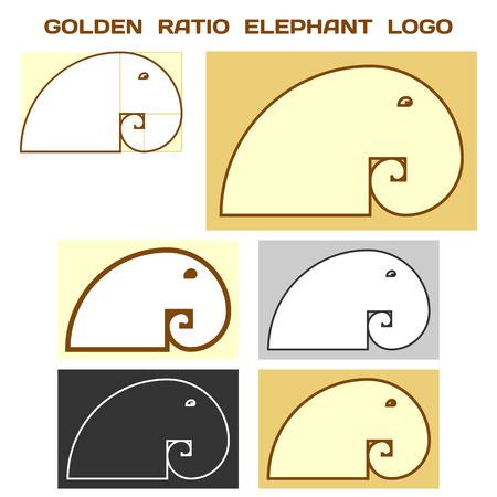 golden ratio: Elephant Logo Basé sur Golden Ratio idée. Divine Proportion logotype. Vecteur.