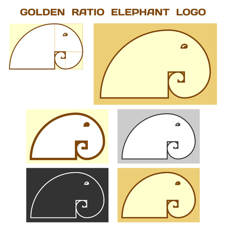 Elephant Logo Based On Golden Ratio Idea. Divine Proportion Logotype. Vector.