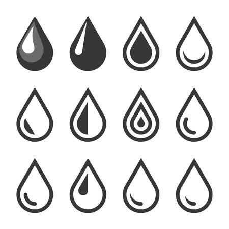gota: Aceite o de la gota del agua del emblema. Plantilla de logotipo. Conjunto de iconos. Vector. Vectores