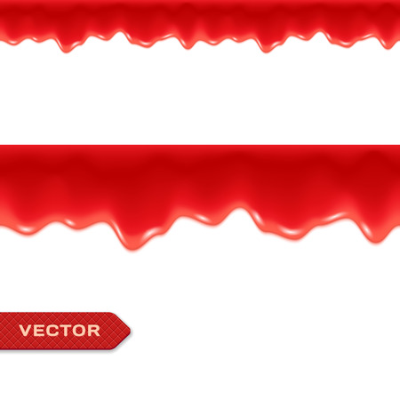 raspberries: Red Drips. Seamless Border. Strawberry or Raspberry Jam or Ketchup. Vector.