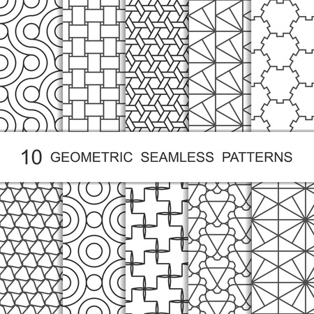 Seamless Geometric Pattern Set. Ten Tiled Ornaments. Vector.