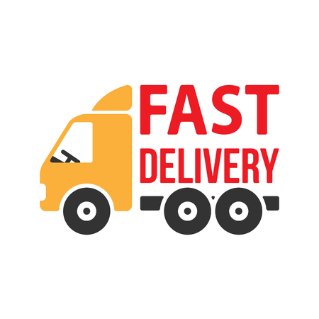 white van: Fast Delivery Icon. Flat Style. Vector