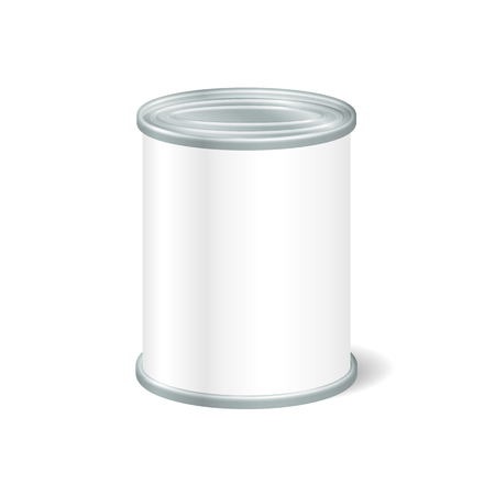 Realistico Tin Bianco Per Alimentari in scatola, Preserve, Conserve. Mock up di pubblicizzare beni. Packaging Template. Vettoriali