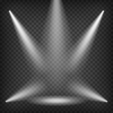 night club interior: Scene With Realistic Spotlight Beams. Transparent Lighting Template. Illustration