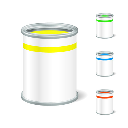Realistic Blank Open Paint Bucket. Tin For Liquid. Mock Up To Advertise Goods. Packaging Template.