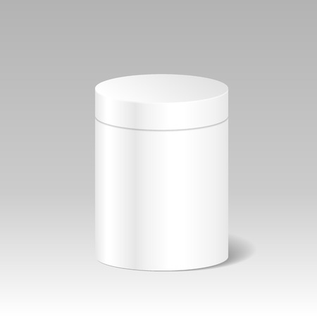 pillar box: Realistic Blank White Product Package Box Mock Up To Advertise Goods. Cylindrical Container With Lid. Packaging Template. Illustration