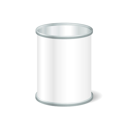 preserve: Realistic Blank Open Tin For Canned Food, Preserve, Conserve. Mock Up To Advertise Goods. Packaging Template. Illustration