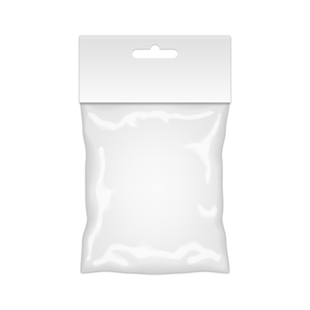 plastic bag: Plastic Bag Mockup Ready For Your Design. Blank Packaging Template With Hang Slot. Isolated On White Background. Vector.