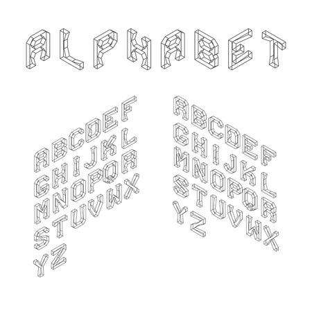latin alphabet: Isometric Latin Alphabet. Wireframe Letters. 3D Geometric Font. Three Dimensional Typeface. Vector.