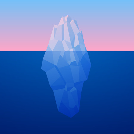Iceberg Background In Low Poly Style. Vector.