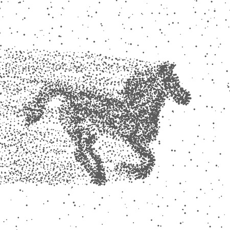 Running Horse Made Of Particles. Dotted Background. Vector. Illustration