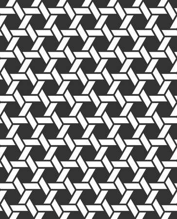 wicker: Seamless Geometric Pattern. Regular Tiled Ornament. Vector