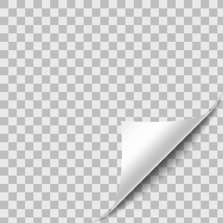 그림자와 웅크 리고 종이 시트 코너입니다. 투명한 배경에 디자인 요소입니다. Page Turn. 벡터 일러스트