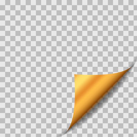 Gouden gekruld papier Blad Hoek Met Schaduw. Element van het ontwerp op transparante achtergrond. Pagina Turn. Vector