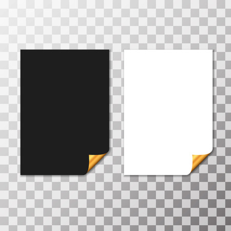 curled corner: Set Of Paper Sheets With Golden Curled Corner. Vector