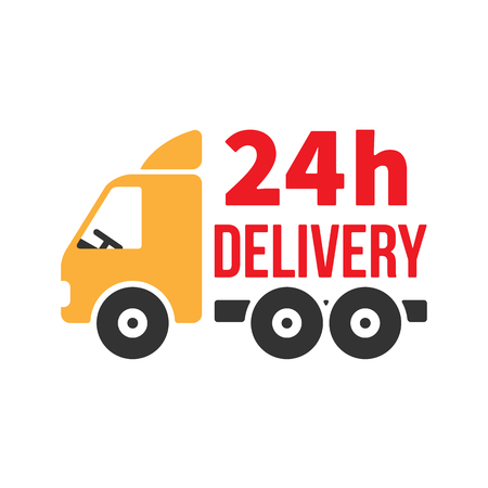 24 hours: 24 Hour Delivery Icon. Next Day Shipping. Flat Style Vector Illustration