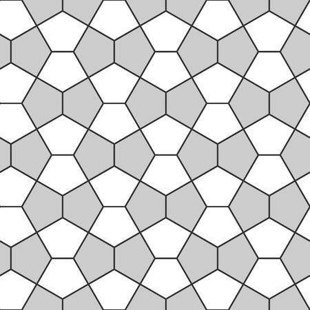Seamless Geometric Pattern. Pentagonal Regular Tiled Ornament. Vector Illustration