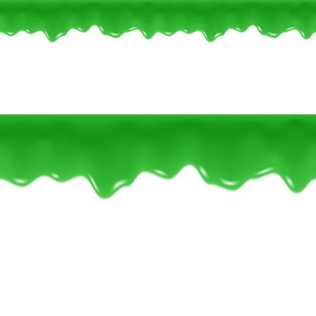 Slime Drips. Toxic Flowing Liquid. Seamless Border. Vector Illustration