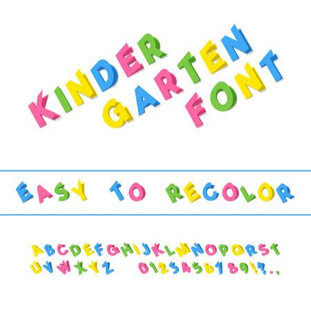 Kindergarten Font. Folded Paper Cut Sans Serif Typeface. Letters, Numbers, Punctuation Marks. Kids Latin Alphabet. Vector
