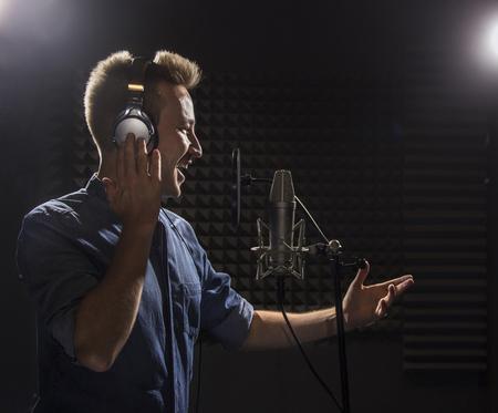 Young Caucasian Singer  Recording Album in the Professional Stud