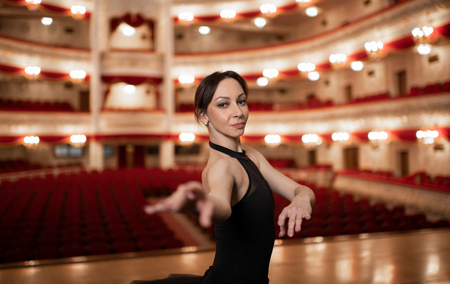 The portrait of young Professional Ballerina on the stage in the Stok Fotoğraf