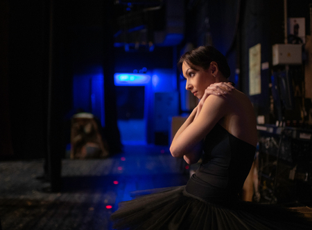 Beautiful Ballerina preparing going to the stage