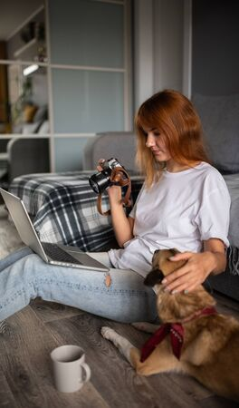 Photographer retouching photos and petting dog at her home