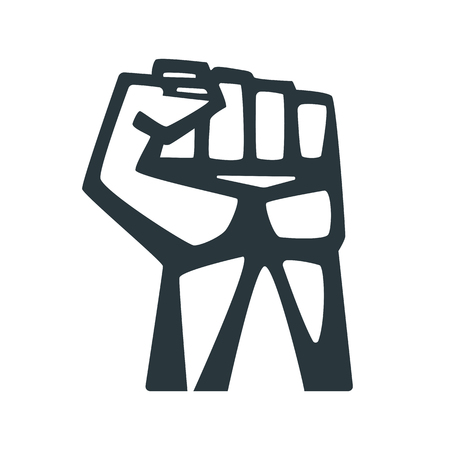 held: A Clenched Fist Held High In Protest. Concepts for t-shirt and printed materials.