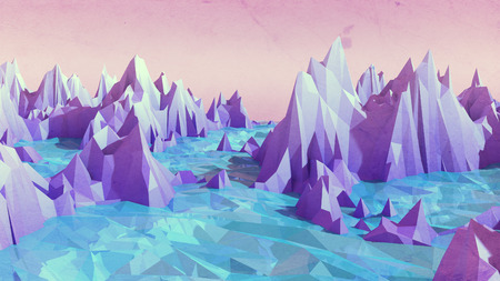 Low poly mountains landscape with water. 3d render image for graphic design.