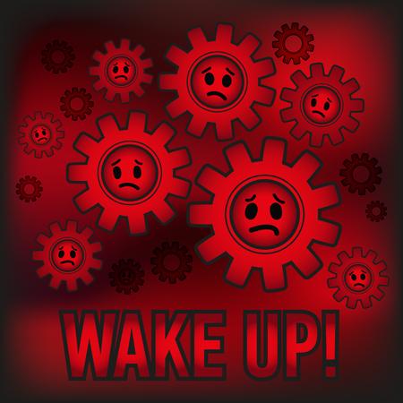 Slaves obey system. Wake UP! Vector illustration. Illustration