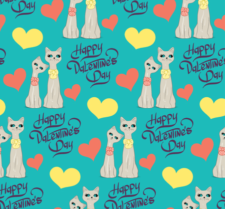 cat s: Seamless pattern with lovers cartoon cats hearts and lettering hand Happy Valentines Day.