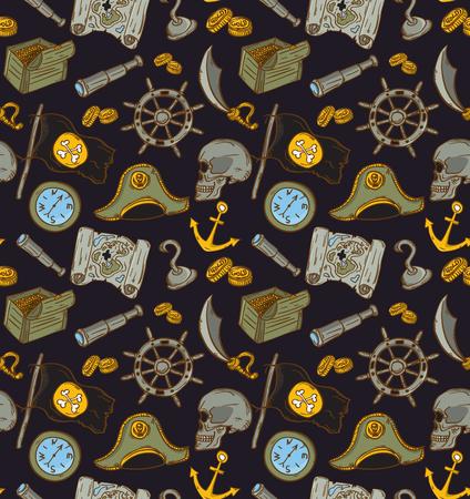 roger: Hand drawn seamless pirate pattern. Vector illustration. Map, saber, flag, anchor, spyglass, roger, treasure, bone, money, compass.