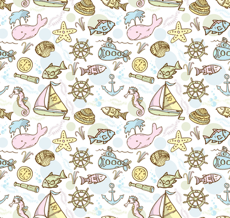 live coral: Cartoon hand-drawn seamless underwater pattern with fishes, whale, submarine and sailing ship. Soft color vector background. Illustration