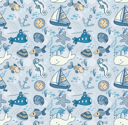 Cartoon hand-drawn seamless underwater pattern with fishes, whale, submarine and sailing ship. Soft color vector background. Illustration