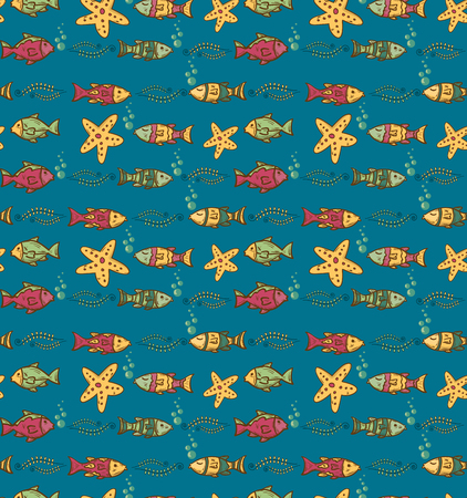 bleb: Cartoon hand-drawn seamless underwater pattern with fishes and marine life. Soft color vector background.